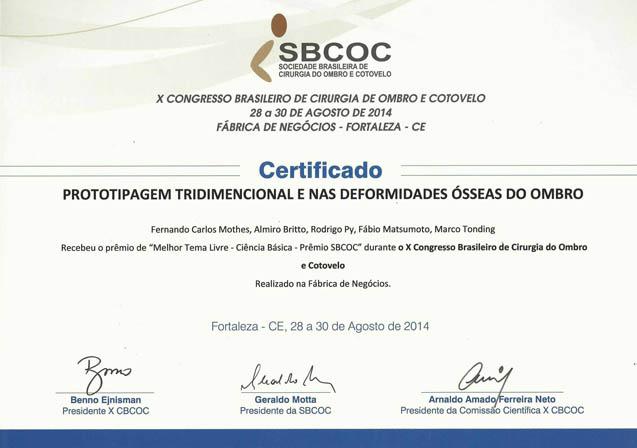 Grupo ganha prêmio no Congresso Brasileiro de Cirurgia de Ombro e Cotovelo.