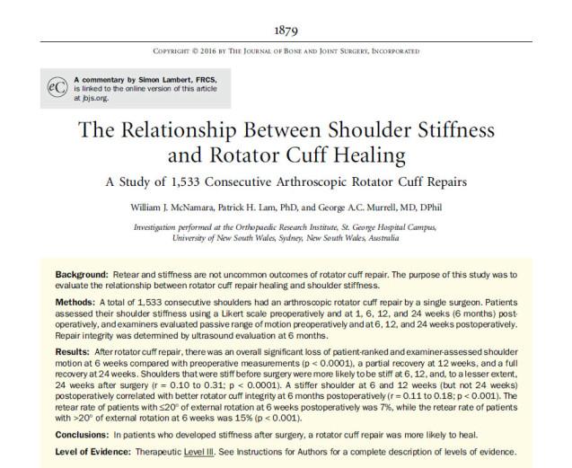 Rigidez após cirurgia artroscópica do manguito rotador é um fator protetor para a cicatrização do tendão.