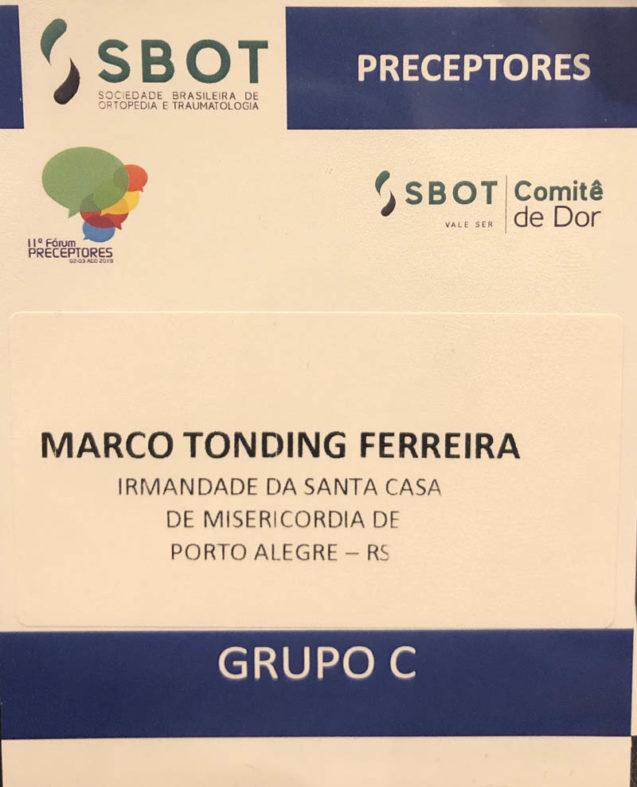 Dr Marco Tonding no 11° Fórum de Preceptores da SBOT